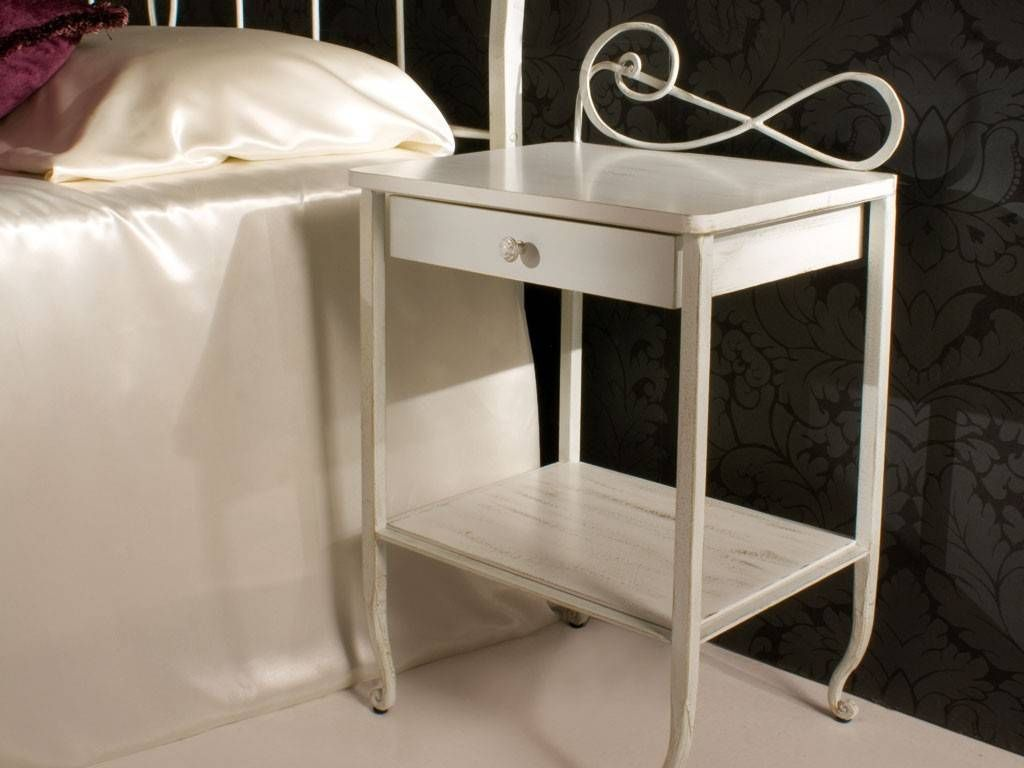 Faure' Wrought Iron Bedside Table