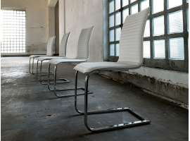 Border upholstered chair in ecoleather