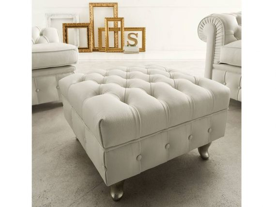 Chester classic pouffe in ecoleather