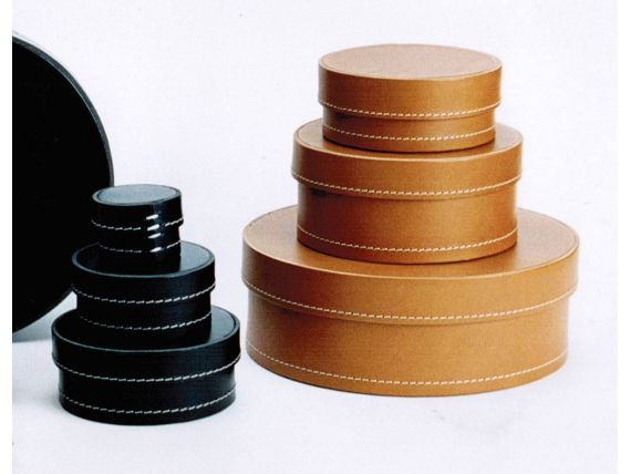 Round and Oval Boxes in real Italian leather