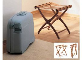 Leather luggage clothes rack