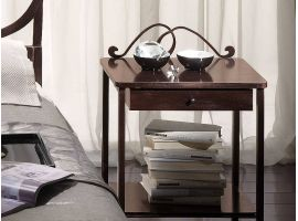 Wought iron and wood bedside table Bradley
