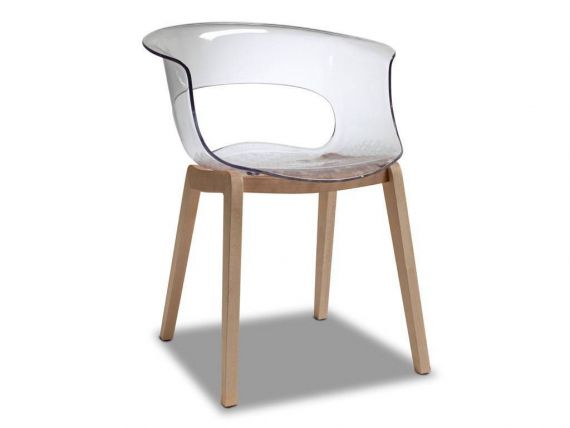 Armchair with wooden structure Natural Miss B Antishock chair