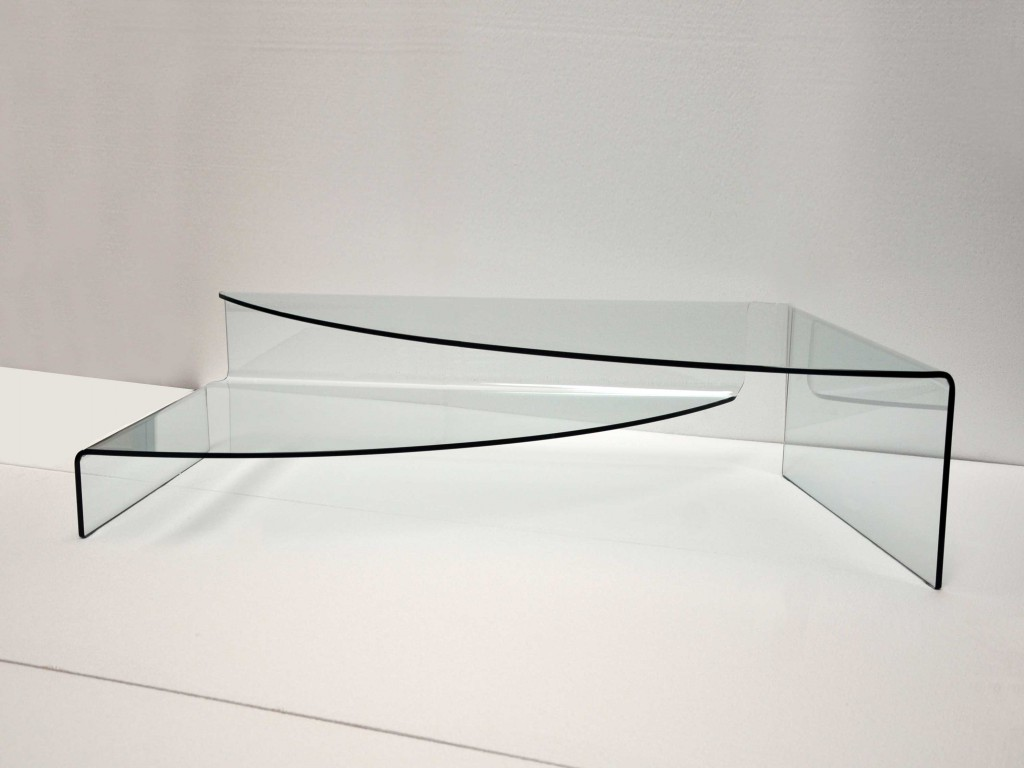 Spectaculaire Coffee Table In Curved Glass For Living Room