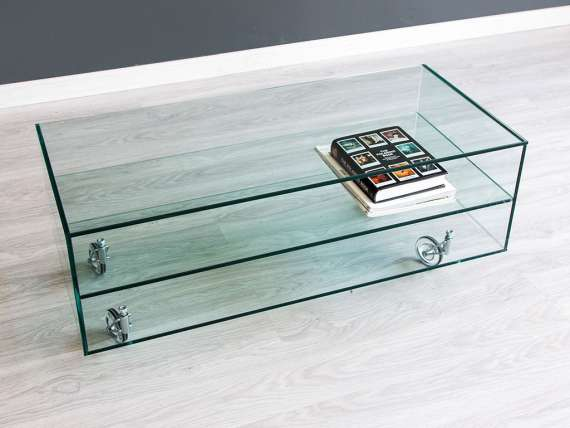 Movie glass TV stand with wheels