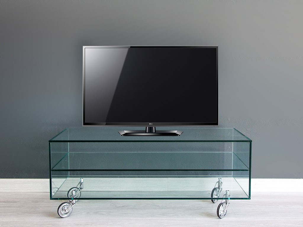 glass TV stand with wheels Movie