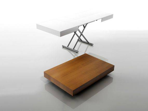 BROOKLIN convertible table in wood with metal base