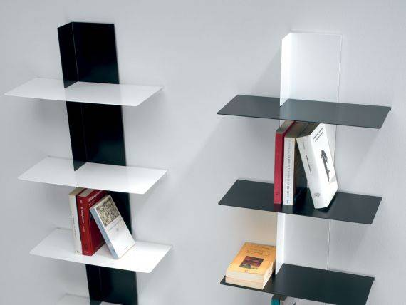 LIFT Wall bookcase in painted aluminium and steel