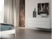 Suspended bedside with three drawers Tratto