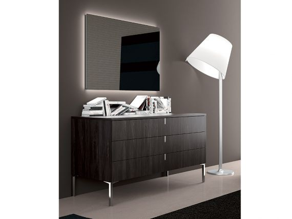 Bedside table with chromed feet and three drawers Tratto