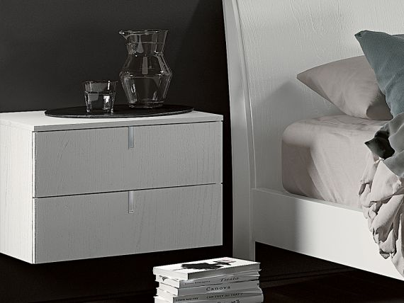 Suspended little bedside table with 2 drawers Tratto