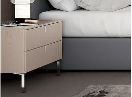 Big bedside table with 2 drawers and chromed feet Tratto