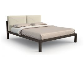 Double bed in wood with padded heaboard Spazio