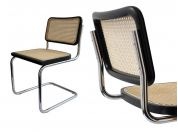 Cesca chair in chromed metal with wooden frame