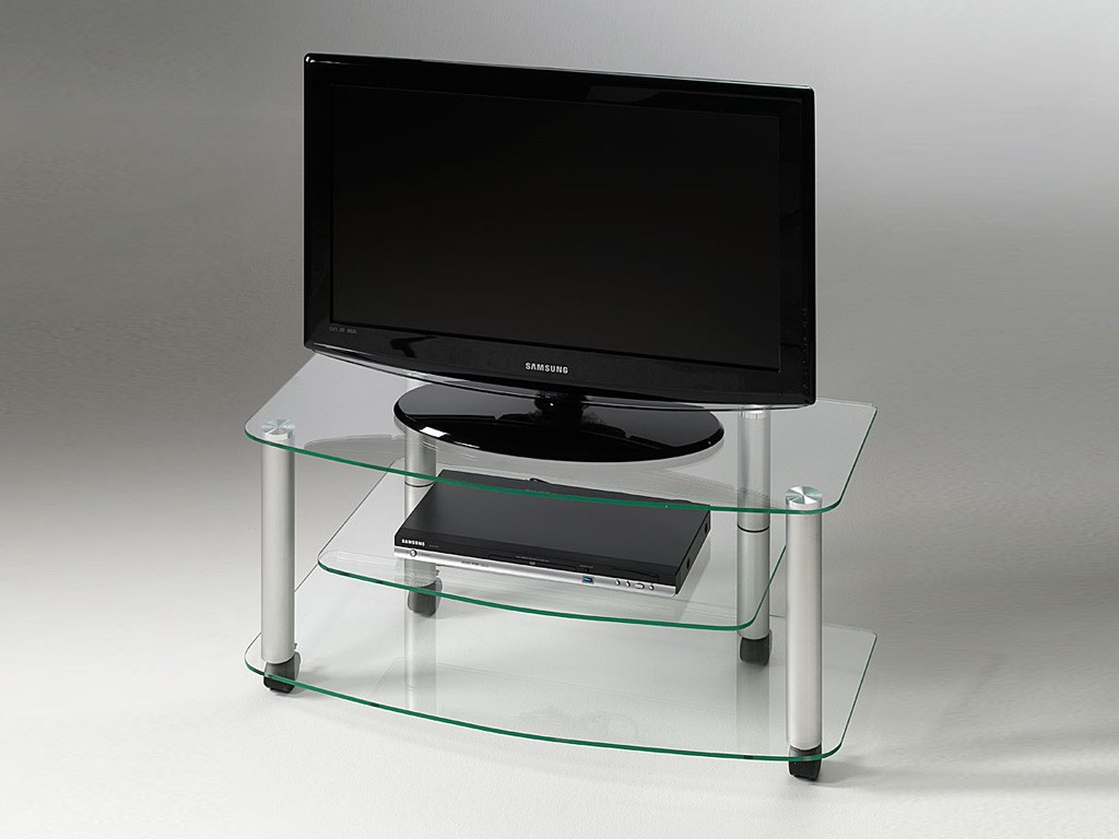 Meuble tv roulettes en verre millenium for Table de television en verre