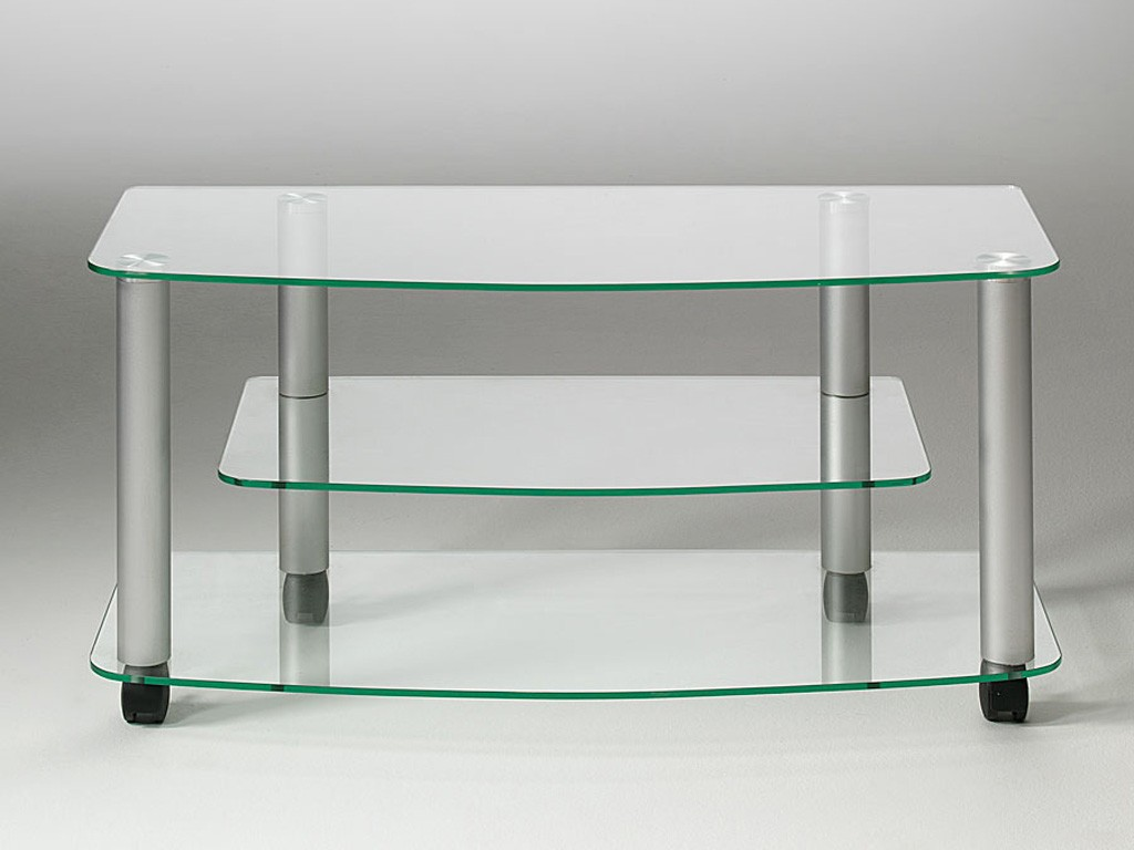 Tv glass stand with wheels millenium - Table tv a roulettes ...