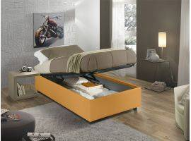 Sommier faux leather upholstered single bed