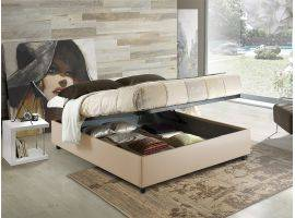 Sommier faux leather upholstered double bed
