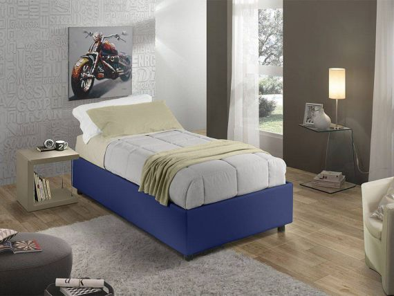 Sommier upholstered single bed with fixed bed base