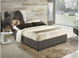 Sommier faux leather upholstered double bed with fixed base