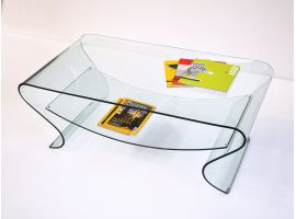 Smile curved glass coffee table
