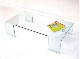 Linear table basse en verre courbé