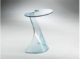 Consolle in curved glass Cigno
