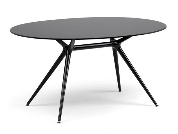 Metropolis 150 table ovale en acier et verre for Ikea table ovale