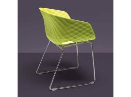 Uni-Ka 595 armchair with sleigh frame in steel