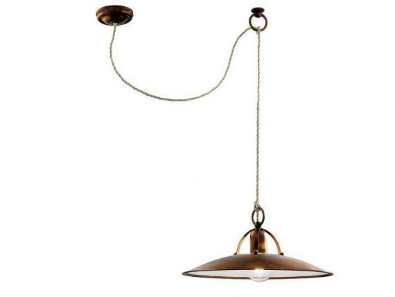 Decentralized hanging lamp in brass Osteria