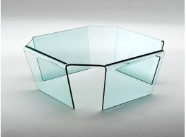 Table basse en verre courbé Quadra