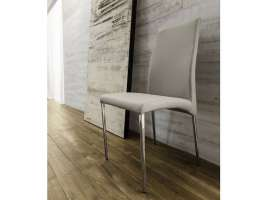 Union chair in chrome-plated metal and leatherette