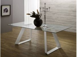 Solid metal and glass table