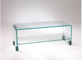 Table basse de salon en verre courb gallery 110 129 for Meuble tv en verre transparent