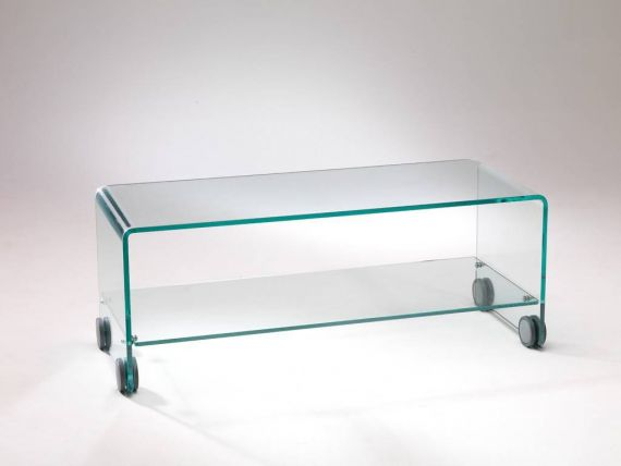 Curved glass TV stand trolley Foxtrot