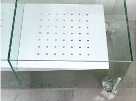 Glass tv stand with wheels E-Box