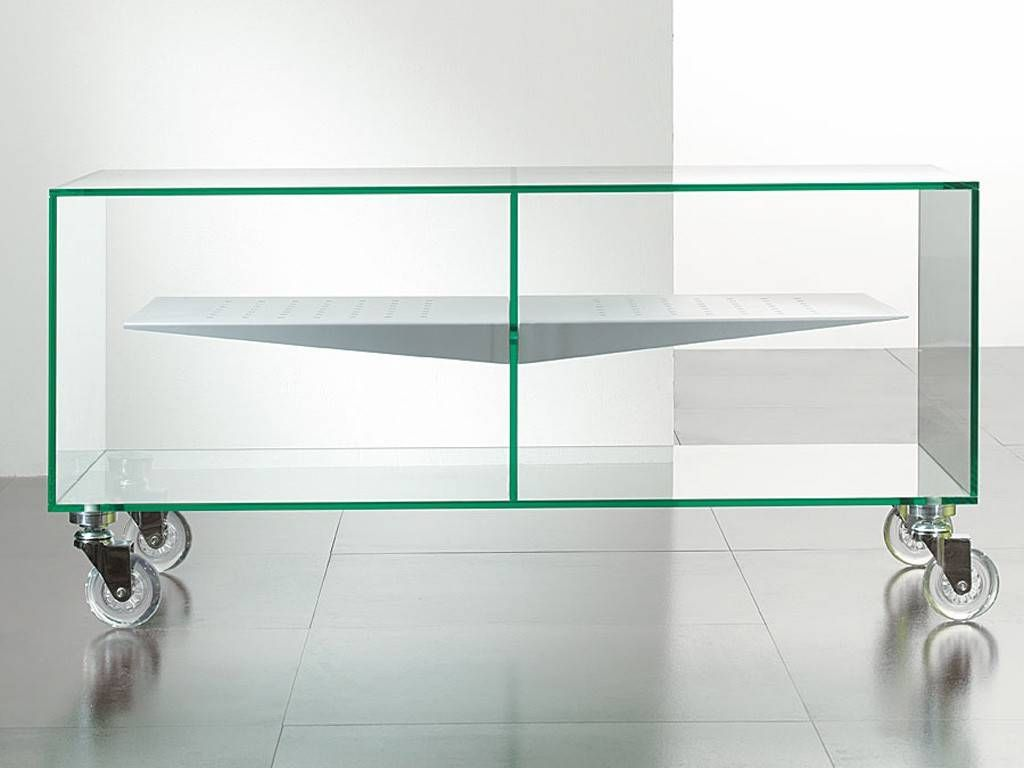 Tv Stand With Wheels E Box # Table Tv En Verre Design