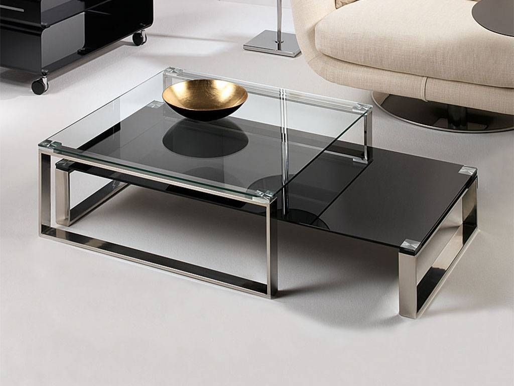 Table basse de salon en verre stain - Table basse salon verre ...