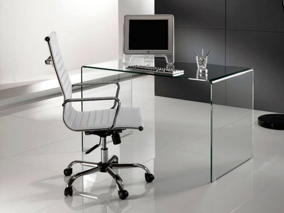 Bended glass desk bend for Mondo office scrivanie