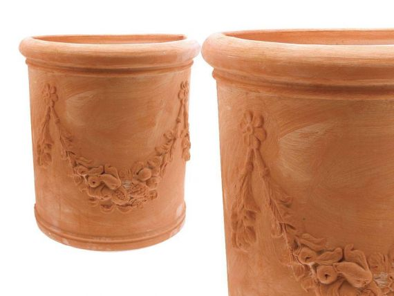 High festooned semicircular Tuscan 001 terracotta pot