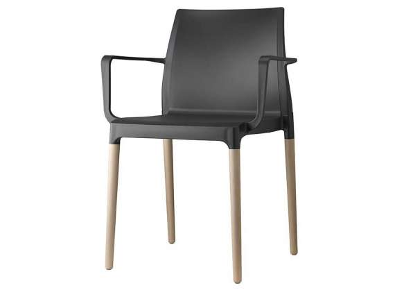 Natural Miss B Antishock chair with wooden legs
