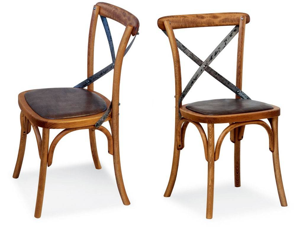 Vintage Chair In Wood And Artificial Leather Ciao Iron