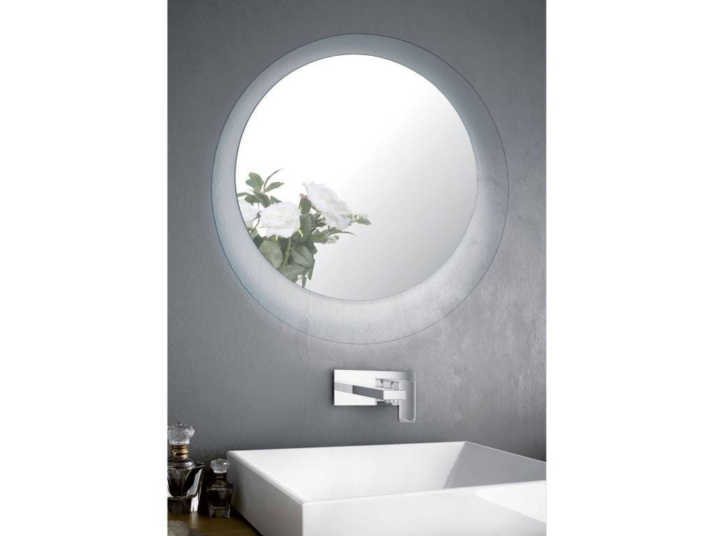 crystal round mirror led for bathroom