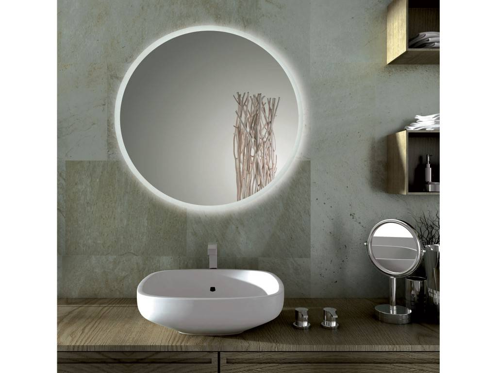 Sole miroir de bain rond led for Miroir 90x90