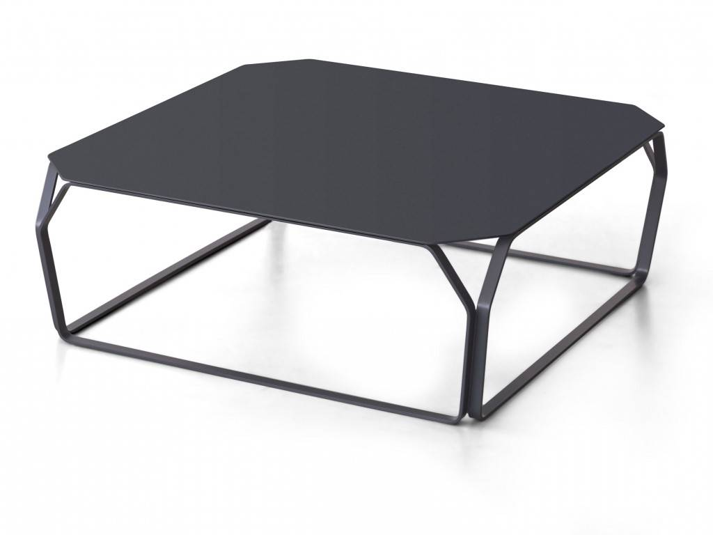 table basse carr e en m tal color e tray 2. Black Bedroom Furniture Sets. Home Design Ideas