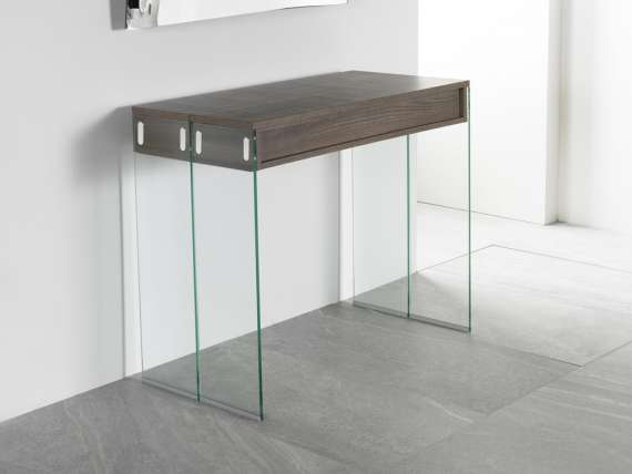 Extendible consolle/table in glass and wood CITY