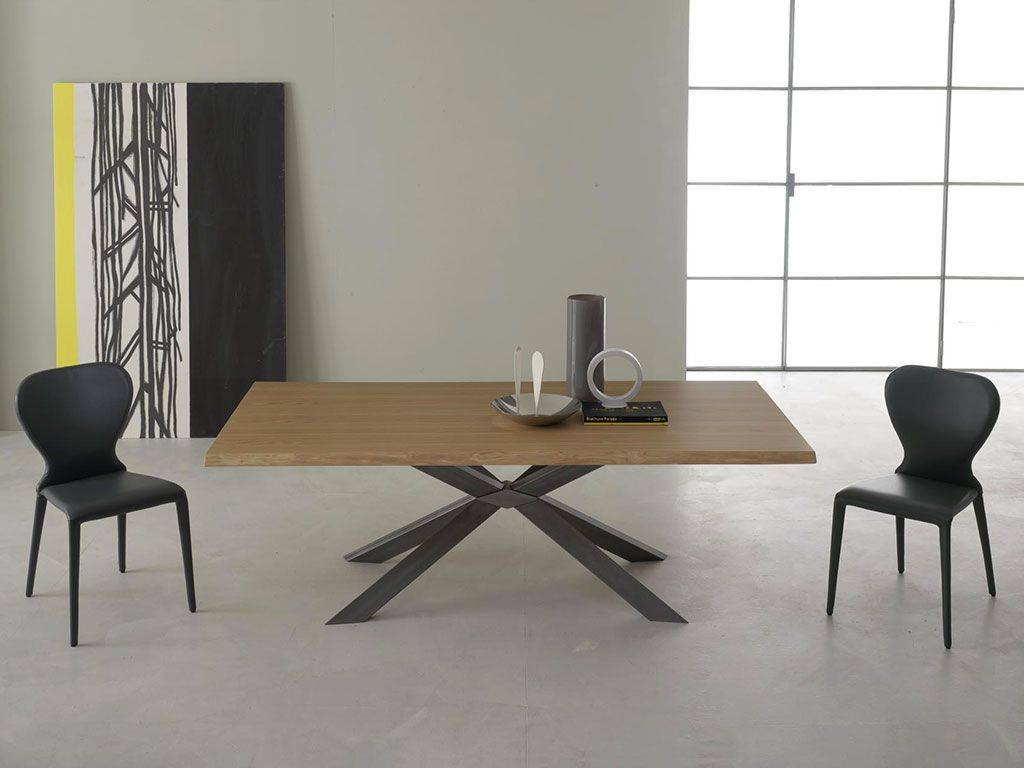 Mikado Legno Table In Wood With Metal Base