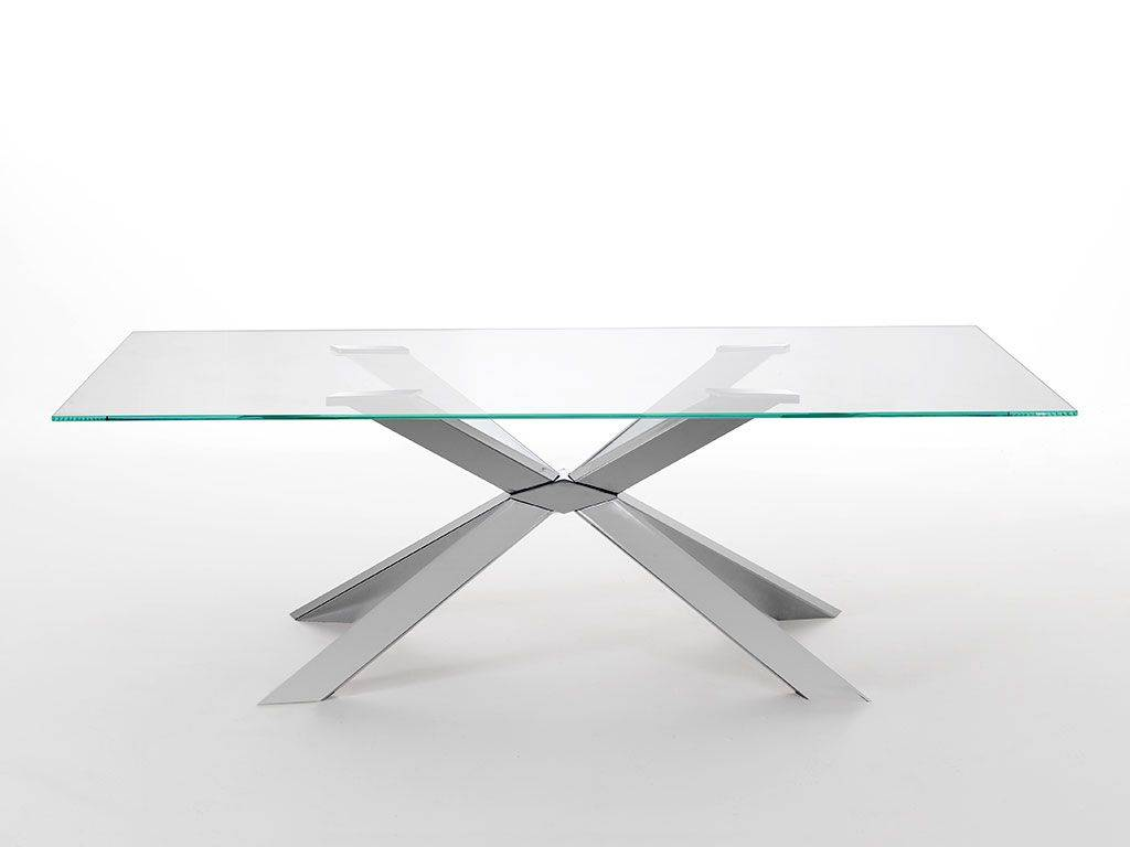 Base Per Tavolo In Vetro.Mikado Vetro Glass Table With Metal Base