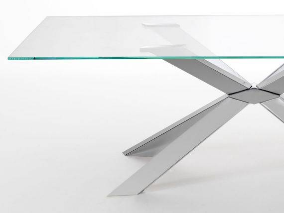 MIKADO VETRO glass table with metal base