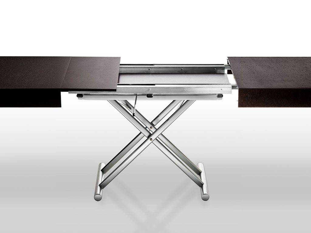 Brooklin convertible table in wood with metal base for Table transformable